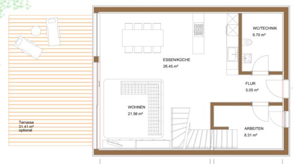 Smart-Loft für Individualisten Erdgeschoss Grundriss energieeffizientes intelligentes Gebäudekonzept von Designer Gerold Peham