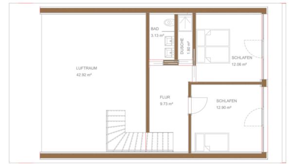 Smart-Loft für Individualisten Obergeschoss Grundriss energieeffizientes intelligentes Gebäudekonzept von Designer Gerold Peham