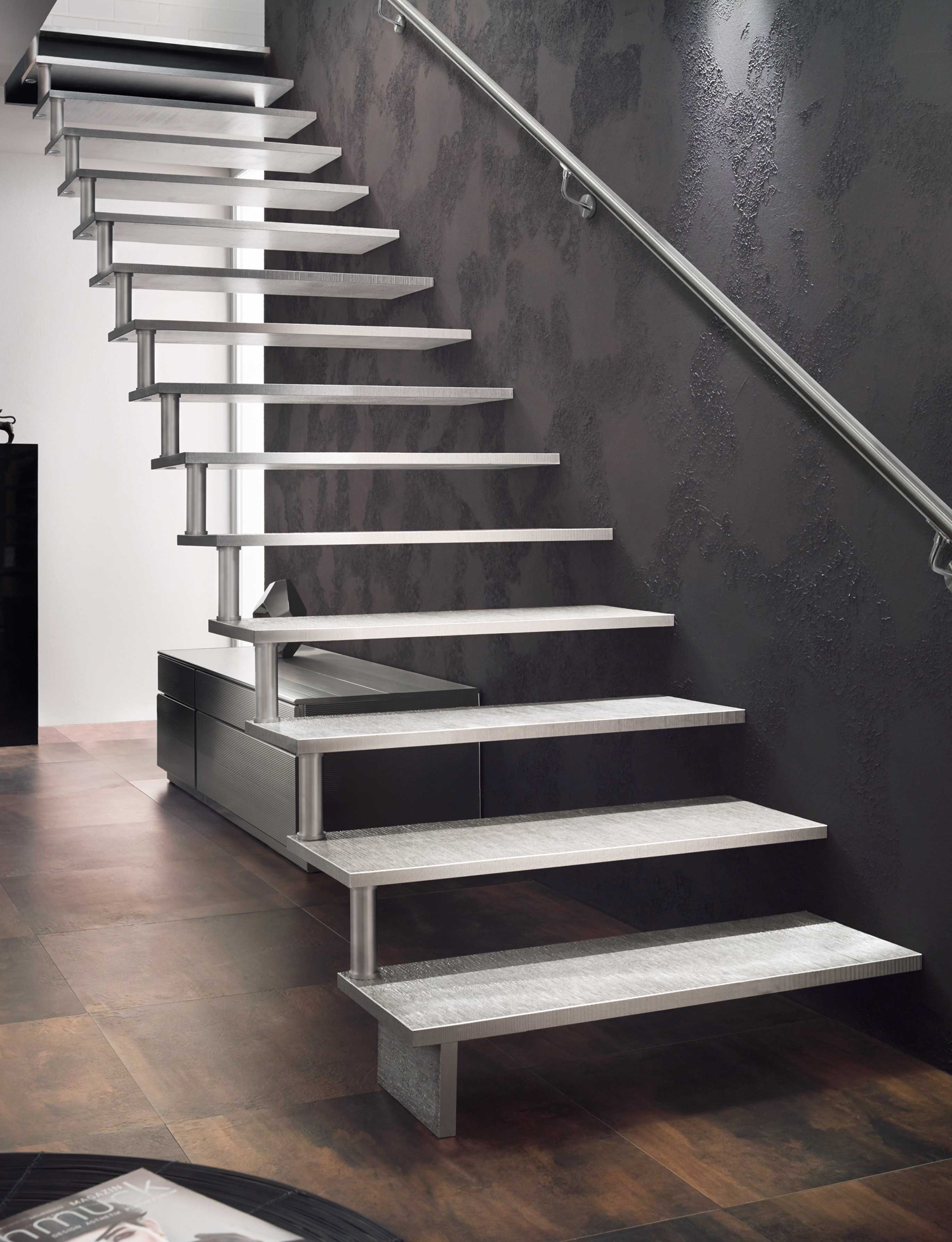 Areo – Ästhetik trifft Zeitgeist puristische Aluminiumtreppe Areo von Treppenmeister
